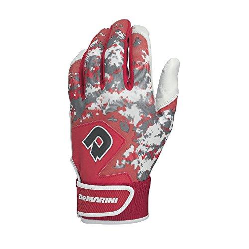 DeMarini Digi Camo II Youth Batting Gloves, Scarlet, Medium, Pair