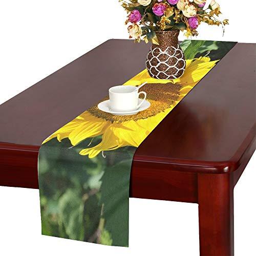 WBSNDB Sunflower Flower Yellow Garden Nature Summer Table Runner, Kitchen Dining Table Runner 16 X 72 Inch for Dinner Parties, Events, Decor