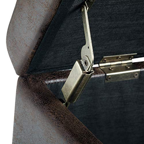Simpli Home AXCF18-DBR Avalon Storage Ottoman Leather