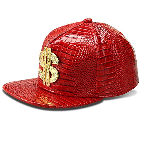 MADY Hip Hop Bling Bling Dollar Crocodile Grain Baseball Cap Men Women Adjustable Strapback (Red)