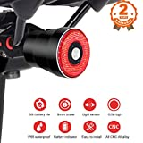 Ultra Bright Smart Bike Light, USB Rechargeable Brake Sensing Bicycle Tail Light, Red High Intensity Rear LED Accessories Fits On Any Road Bikes. Easy to Install for Cycling Safety Taillights