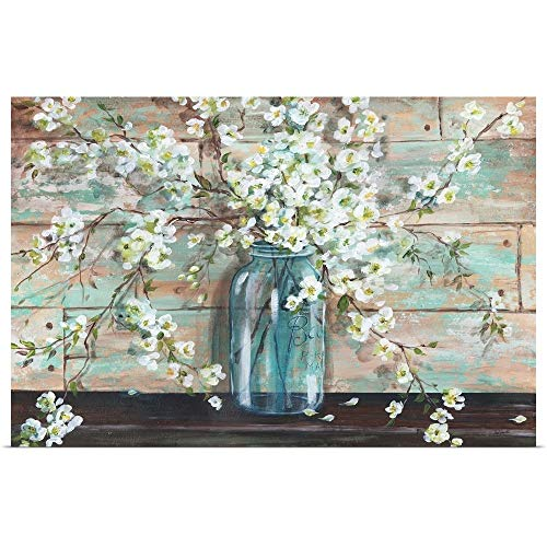 GREATBIGCANVAS Poster Print Entitled Blossoms in Mason Jar by TRE Sorelle Studios -