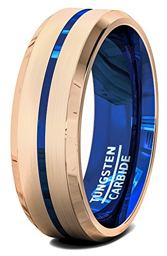 Duke Collections 8mm Rose Gold Brushed Tungsten Ring Center Blue Groove Beveled Edge Comfort Fit (7)