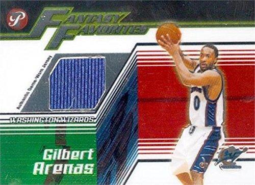(Gilbert Arenas player worn jersey patch basketball card (Washington Wizards) 2004 Topps Fantasy Favorites #FFGA)