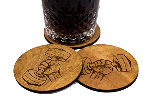 """4 Stained Weightlifter Coaster - Set of 3.5"""" Wood"""