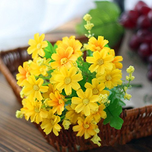 Artificial Silk Fake Flowers Small Daisy Wedding Bouquet Party Home Decor By Orangeskycn (Yellow) (Prima Silk Flowers)