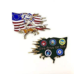 US Military Department of Defense Colonial Flag with Patriot & K-9 Dog Live Free or Die US Navy, Air Force, Marines, Army, Coast Guards Challenge Coin by Emporium Royale
