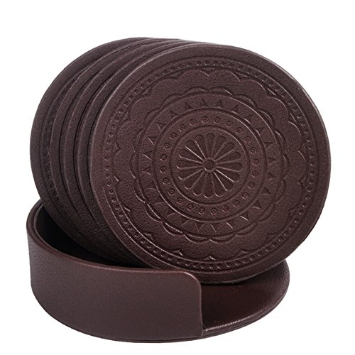 Coasters for Drinks,PU Leather Coasters Set of 6 with Holder for Coffee Tea Cups Mugs Round - Coaster Leather Drink