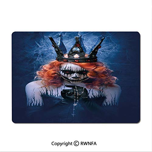 Non-Slip Rubber Base Mouse pad Queen of Death Scary Body Art Halloween Evil Face Bizarre Make Up Zombie(8.3