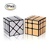 #10: Roxenda Speed Cube Set, Magic Cube Set of Gold Mirror S Cube and Silver Windmirror Cube, Irregular Speedcubing 3x3x3 Speed Cube Twisty Box Puzzle