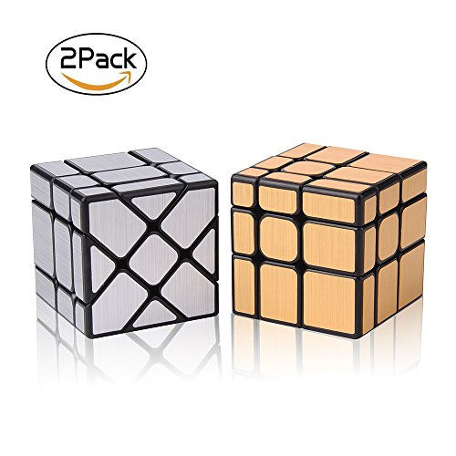 Rubiks Cube Original 3x3 Puzzle (Roxenda Speed Cube Set, Magic Cube Set of Gold Mirror S Cube and Silver Windmirror Cube, Irregular Speedcubing 3x3x3 Speed Cube Twisty Box Puzzle)