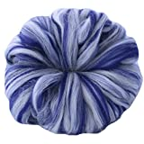 SPINNING ROVING pre-drafted fiber for easy hand spinning. Super Soft Merino and Silk Pencil Roving Combed Top. Gift Box, Candy Stripe Navy