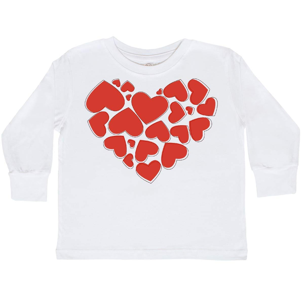 inktastic Love Valentine Romance Hearts Red Toddler Long Sleeve T-Shirt