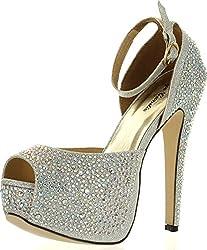 Silver Wedge Peep Toe Sandal