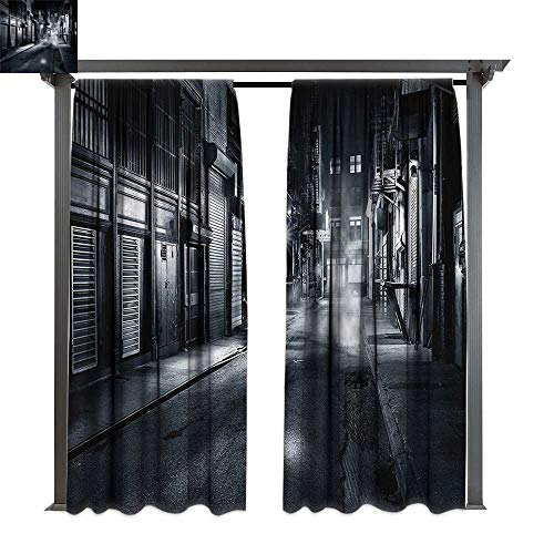 Thermal Insulated Drapes Night Dark Urban NYC Scenery for Lawn & Garden, Water & Wind Proof W108 -