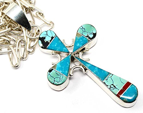 Reversible Turquoise Cross (L7 Enterprises Navajo Channel Inlay Reversible Turquoise Cross Pendant By Yazzie | Includes 24
