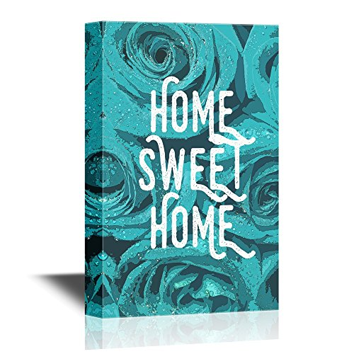 Print Art Home Sweet Home Quotes on Blue Roses Background Wall Decor Quotes ation
