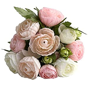 simoce Artificial Flowers 10 Heads Persian Buttercup Crowfoot Ranunculus Wedding Bride Hand Tied Bouquet Home Decoration Silk-Like Lustring Fake Décor Flowers. 7.9H x 6.3W inches.(White-Pink