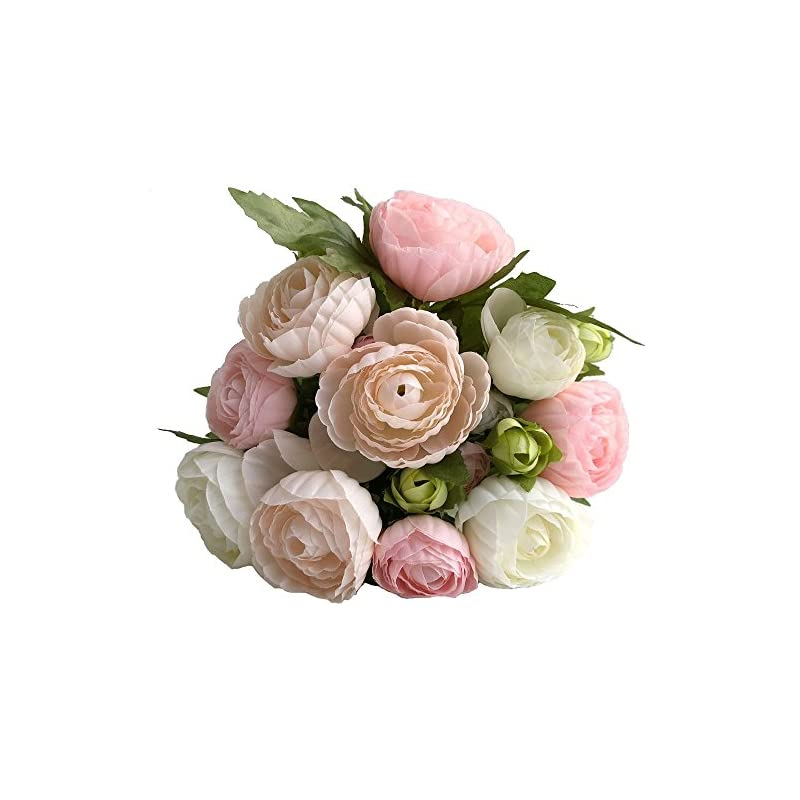 silk flower arrangements simoce artificial flowers 10 heads persian buttercup crowfoot ranunculus wedding bride hand tied bouquet home decoration silk-like lustring fake décor flowers. 7.9h x 6.3w inches.(white-pink