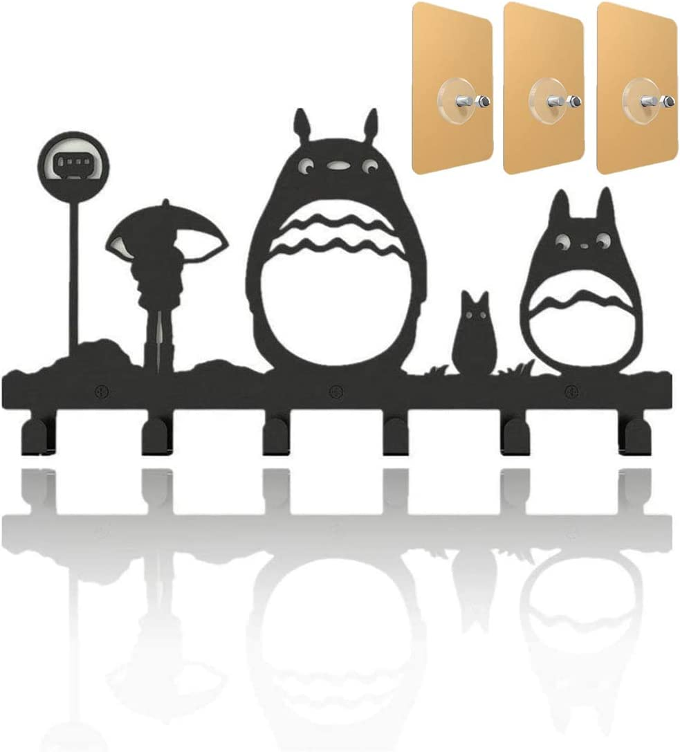 Cat Coat Hooks Wall Mounted Bag Hanger,3 Pack Strong Adhesive Screw Wall Nail,6 Hooks Storage Rack Originality Clothing Hooks Key Holder Belt and Hat Organizer Totoro Pattern Black