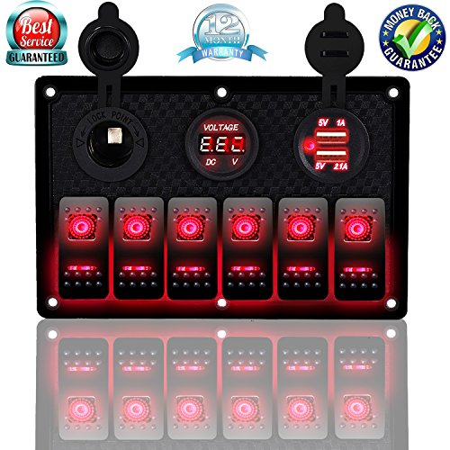 DCFlat 5 Pin 4 Gang / 6 Gang Car Marine Boat Circuit RV LED Rocker Switch Panel Breaker Voltmeter USB for RV Car Boat Blue / Red / Green Light (6 Gang Plastic Red) ()