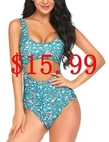 Women One Piece Swimsuit Push Up Padded Monokini Vintage Floral Bikini Swimming Bathing Suit S Acid Blue