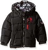 U.S. Polo Assn. Boys' Big Boys' Hooded Bubble Jacket, Black/Black Camo Print, 10/12