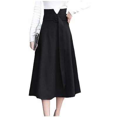 Abetteric Women Elegant High Waist Woolen Work A-Line Flared Long Skirt