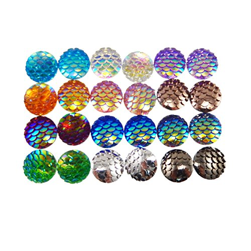 Jewelry Charm Resin (JulieWang 100pcs Mermaid Scales Skin Cabochons Resin Mixed Shinny Color for Jewelry Making (12x12mm))