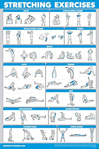 QuickFit Stretching Workout Exercise Poster - Stretch Routine (Laminated, 18