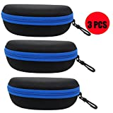 ZZ Sanity (3PCS) Portable Travel Zipper Sunglasses Hard Case Eyes Glasses Box Bag (3pcs-Blue)