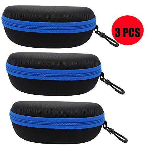 ZZ Sanity (3PCS) Portable Travel Zipper Sunglasses Hard Case Eyes Glasses Box Bag - Sunglasses Case Mens