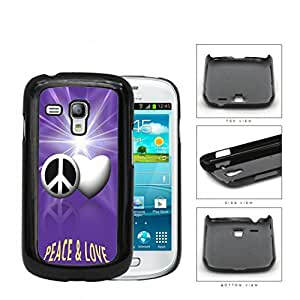 Peace And Love Symbols With Purple Glare Hard Plastic Snap On Cell Phone Case Samsung Galaxy S3 SIII Mini I8200