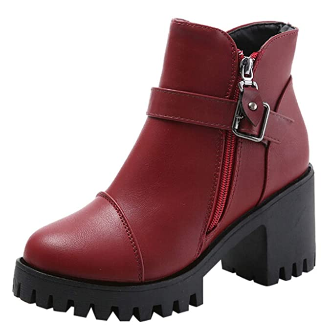 FOANA Zapatos con Cremallera Lateral para Mujer Cinturón ...