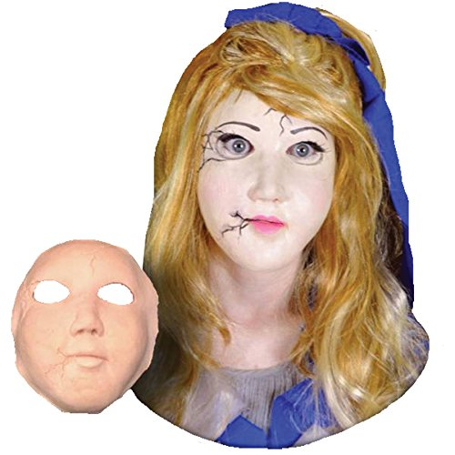 UHC Women's Prosthetic Broken Doll Face Theme Party Latex Halloween (Broken Doll Faces For Halloween)