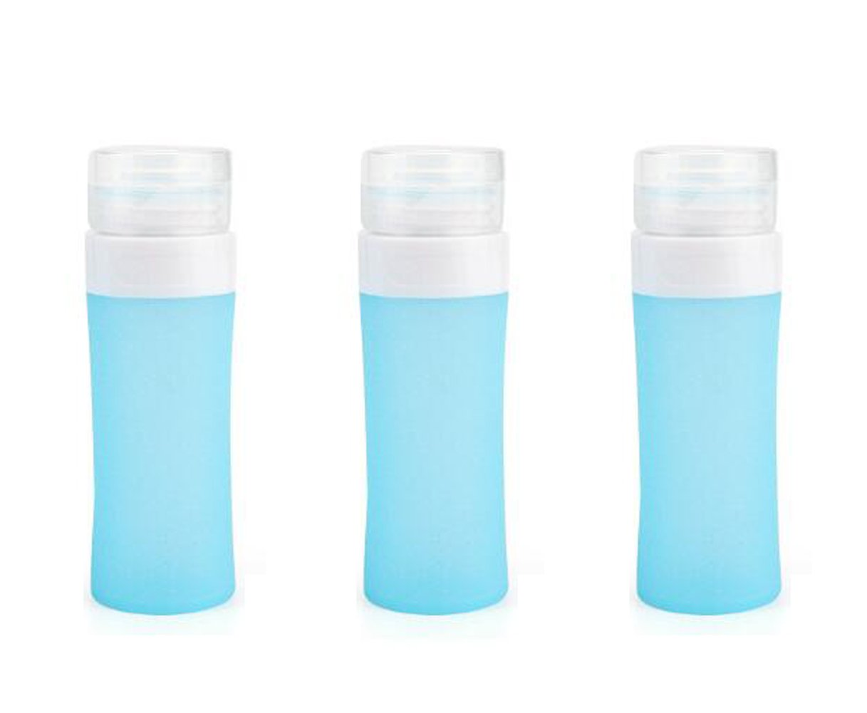 3Pcs Round Silicon Leakproof Travel bottles Empty Refillable Squeeze Containers Tubes Perfect for Carry-on Luggage Liquid Toiletries and Cream Blue (60ml/2oz)
