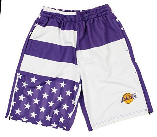 Nba Womens Shorts - Zipway Los Angeles Lakers NBA Mens Flag Athletic Shorts, White/Purple