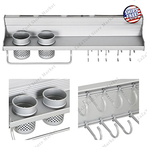 11' Gold Glove (NEW Silver Wall Hanging Multifunctional Aluminum Kitchen Wall Rack/Shelf with Hooks)