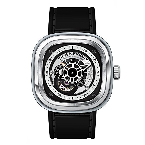 SEVENFRIDAY Men's Japanese Automatic Stainless Steel Watch, Color:Black (Model: P1B-01)