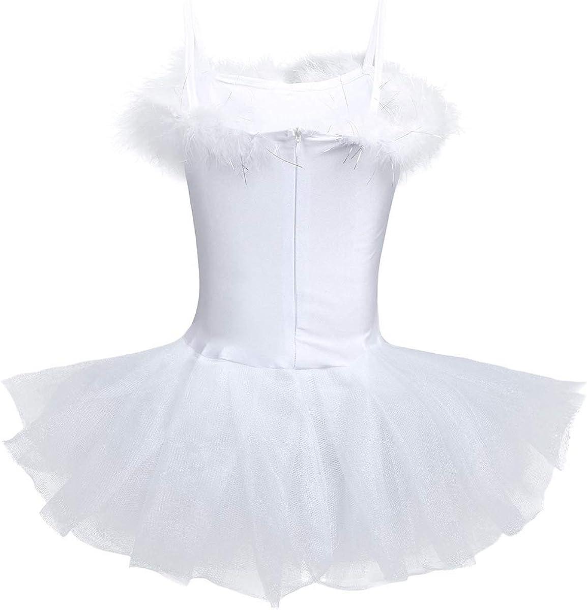 iiniim 3 PCS Robe /à Bretelles Princesse Robe Ballet Tutu Danse Classique Justaucorps Gymnastique Gym Enfant Fille Paillett/és Brillant Ramurede Cerf Costume Danse 4-12 Ans