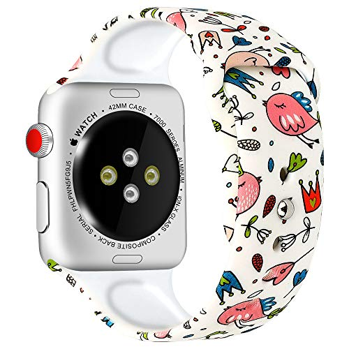 MEFEO Compatible with Apple Watch Band 38mm 40mm 42mm 44mm, Soft Silicone Floral Bands Replacement Wristband for iWatch Series 4 Series 3 Series 2 Series 1 (Style 7, 38mm/40mm)