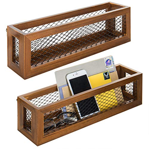 Woods Mesh (16-Inch Wall Mounted Storage Box Organizers with Brown Wood & Metal Mesh Design, Set of 2)