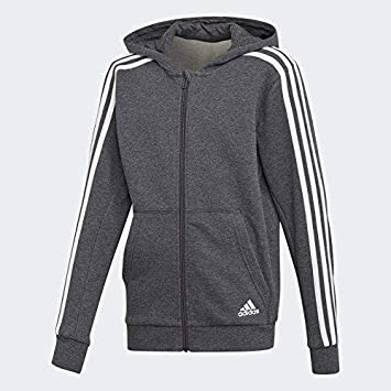 adidas Jungen 3 Stripes Full Zip Hood Kapuzen-Jacke, Dark Grey Heather White fdaf36c4d7