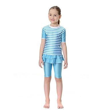 900d4e8215567 Zhuhaixmy Islamic Muslim Girls Summer Swimsuit 2-Pieces Swimwear Malaysia  Arab Middle East Modest Bathing Suit Burkini Beachwear for Children:  Amazon.co.uk: ...