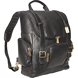Claire Chase Portofino Computer Leather Backpack, Laptop Bag in Black