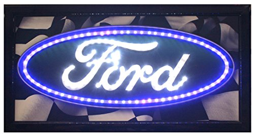 Crystal Art - Ford Logo Framed Flashing LED Sign (Signs Ford Neon)