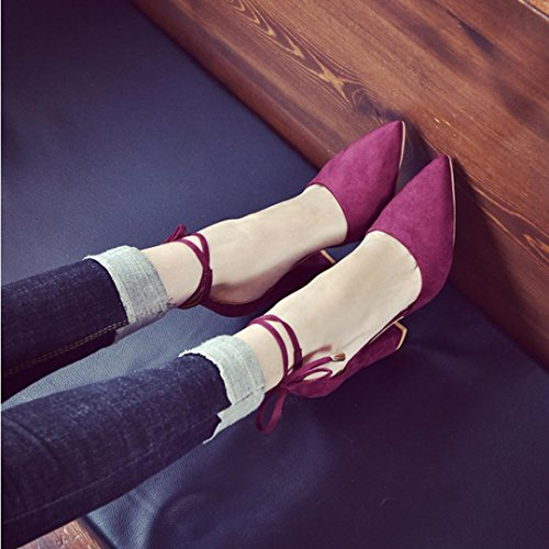 MMLC Women's Solid Color Pointed Shoes Thick Heel Suede High Heeled Shoes Sandals Wine BN1TfQKhAf