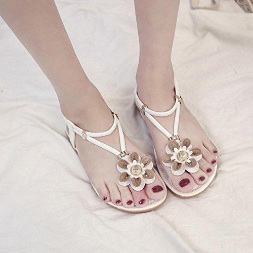 Playa ASHOP y de Zapatos Las Planas Sandalias Bohemia Flor Moda Sandalias Romana Cordones Verano Y de Mujer Elegante Blanco Chanclas Bailarinas Zapatillas Cuero Cómodo De rHZWrqTnA