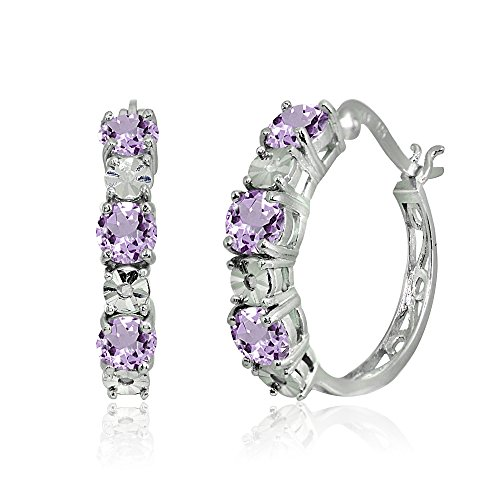 (Sterling Silver Amethyst Round Filigree 20mm Hoop Earrings)