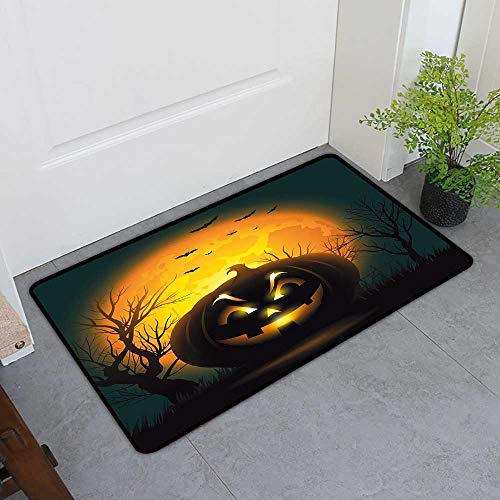 TableCovers&Home Inlet Outdoor Door Mat, Halloween Indoor Doormats for Bedroom, Fierce Character Evil Face Ominous Aggressive Pumpkin Full Moon Bats (Orange Dark Brown Black, H20 x -